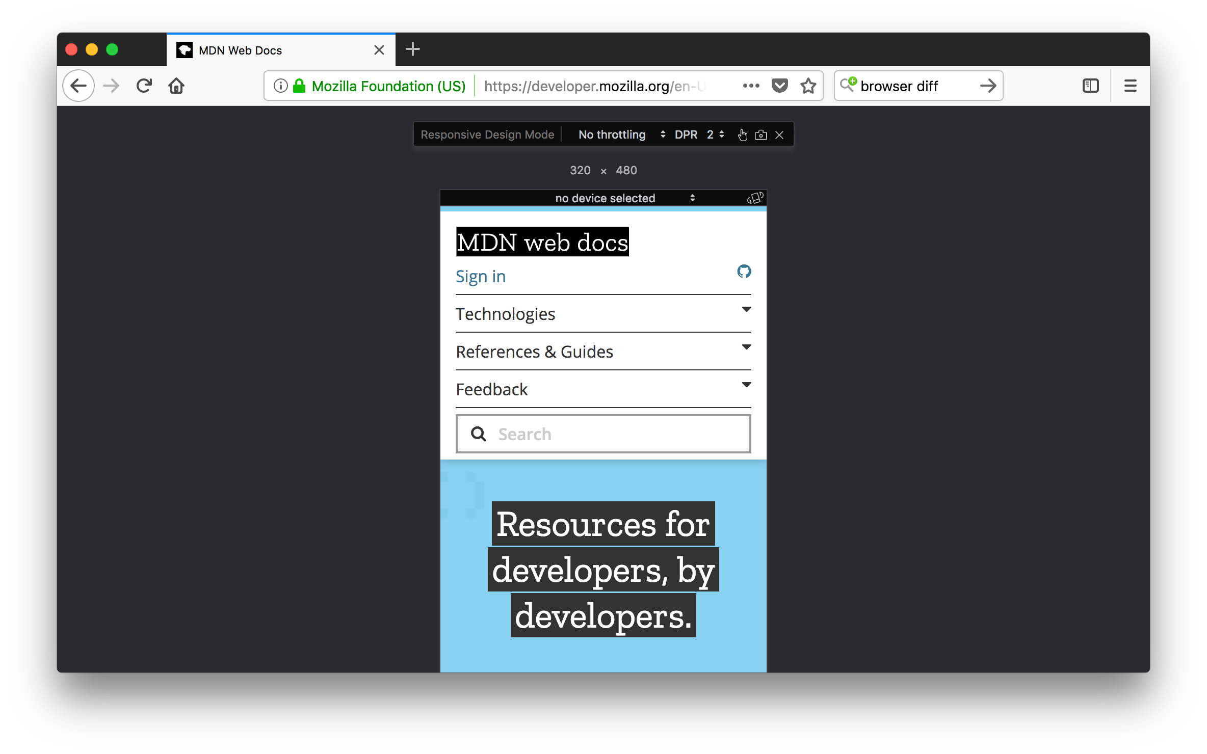 Responsive Design mode in Firefox 57.
