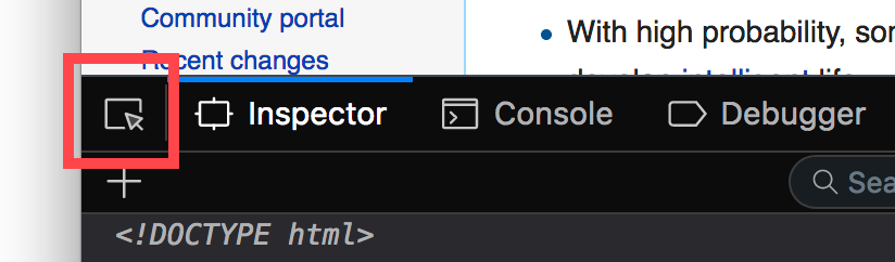 This is the button in Firefox 57 Inspector you can use to select elements on a web page.
