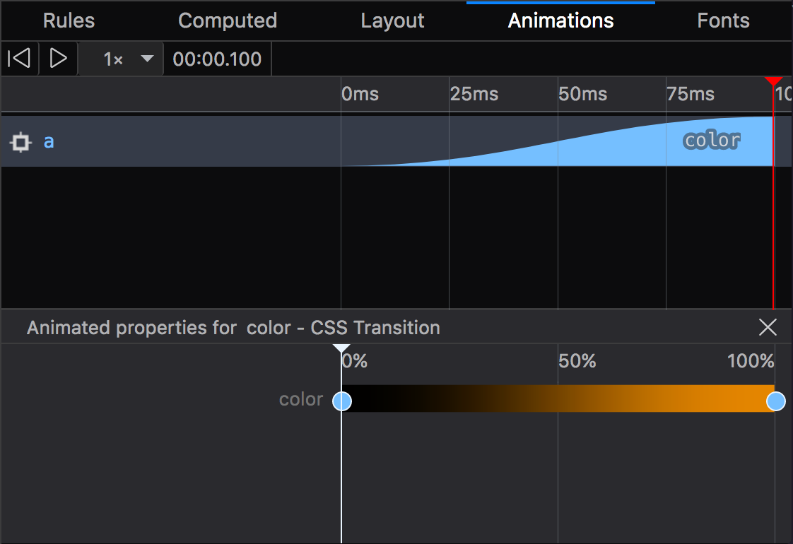 This is the Animations pane in the Firefox 57 Inspector.