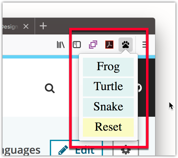 Example of the pop-up on a toolbar button