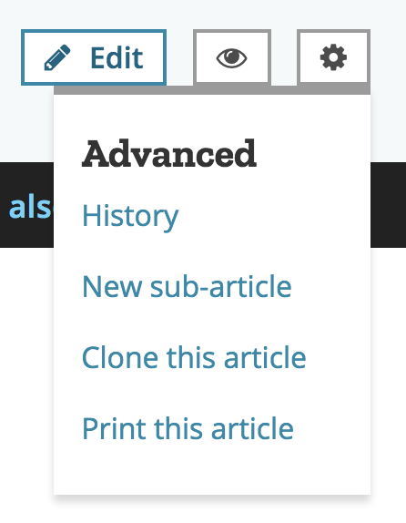 options or gear menu on mdn, which includes the new sub-article option