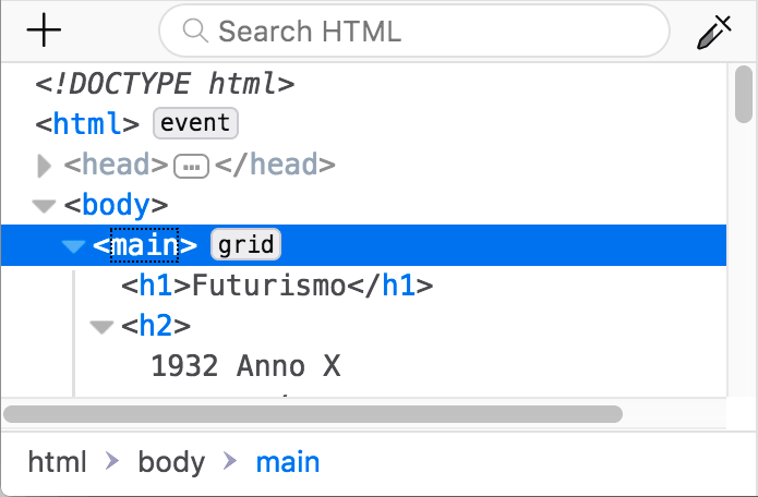 The HTML pane of the Firefox devtools, showing an element annotated with a grid marker, meaning that it has display: grid set on it