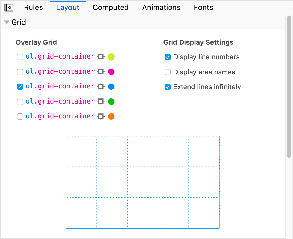The grid options section of the Firefox devtools Layout view, showing multiple options for specifying how you want to see CSS grids displayed