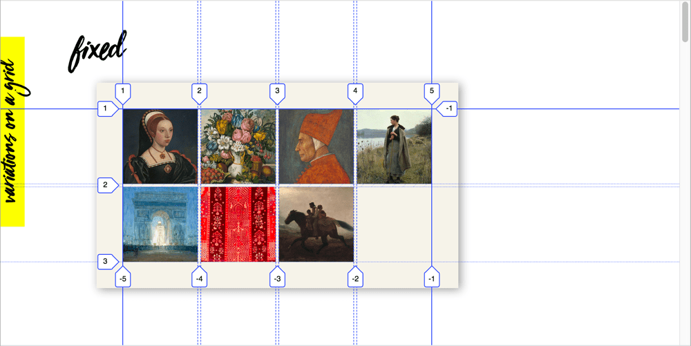 A CSS grid overlay with grid lines extended infinitely
