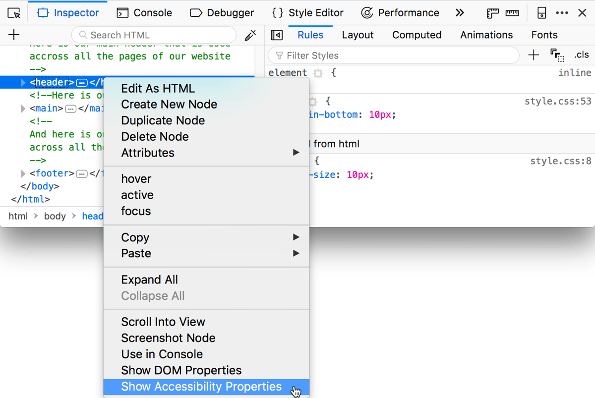 context menu in the DOM inspector, with a highlighted option: Show Accessibility Properties