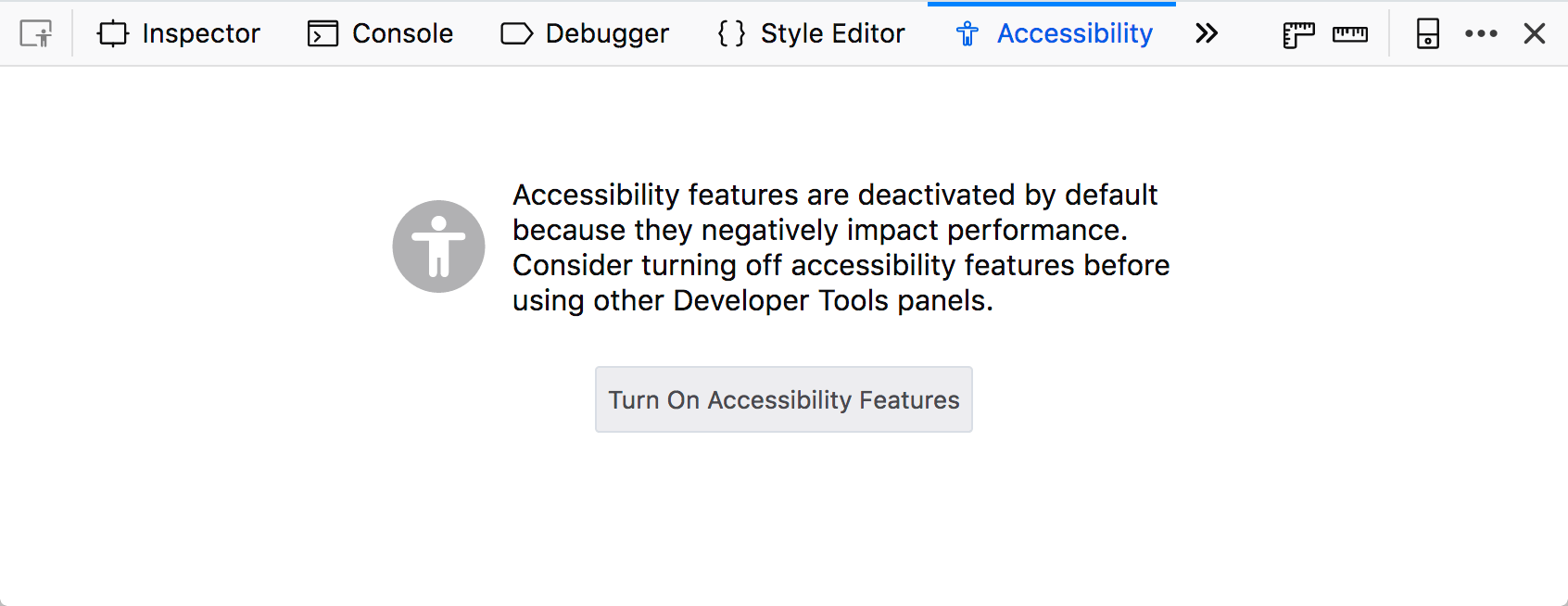 Accessibility tab in firefox devtools, turned off, with a button labeled Turn On Accessibility Features