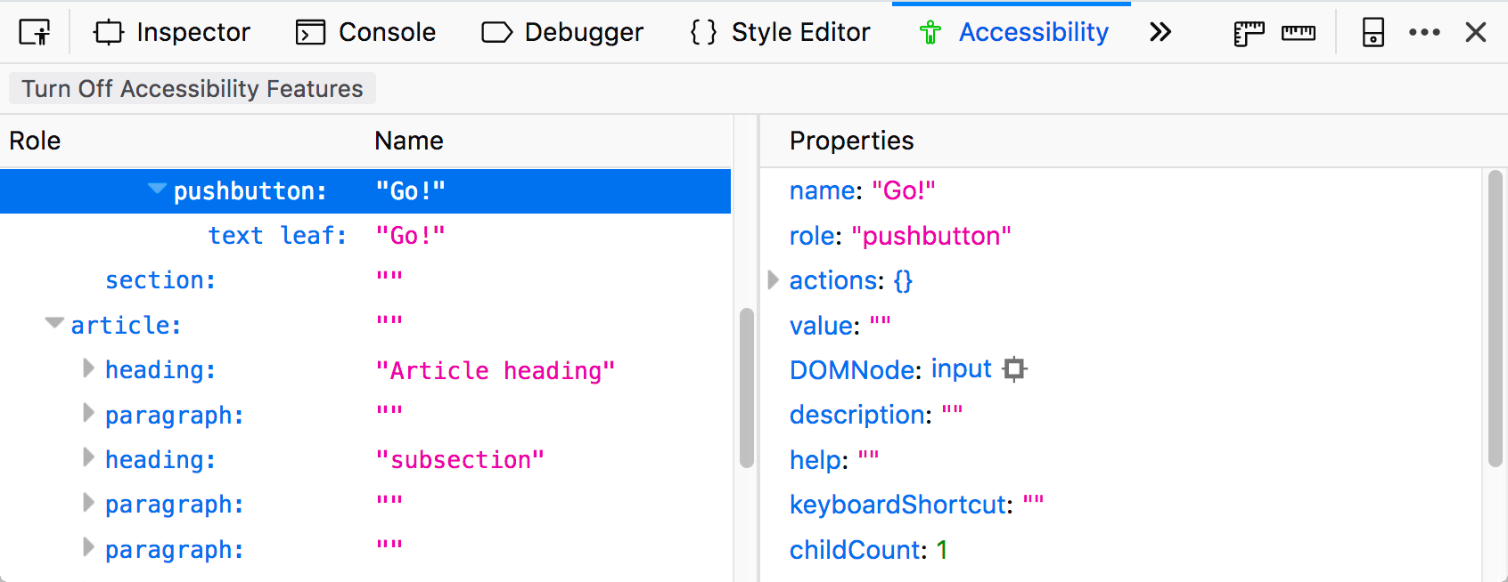 Accessibility tab in firefox devtools, turned on, showing two information panels plus a button labeled Turn Off Accessibility Features
