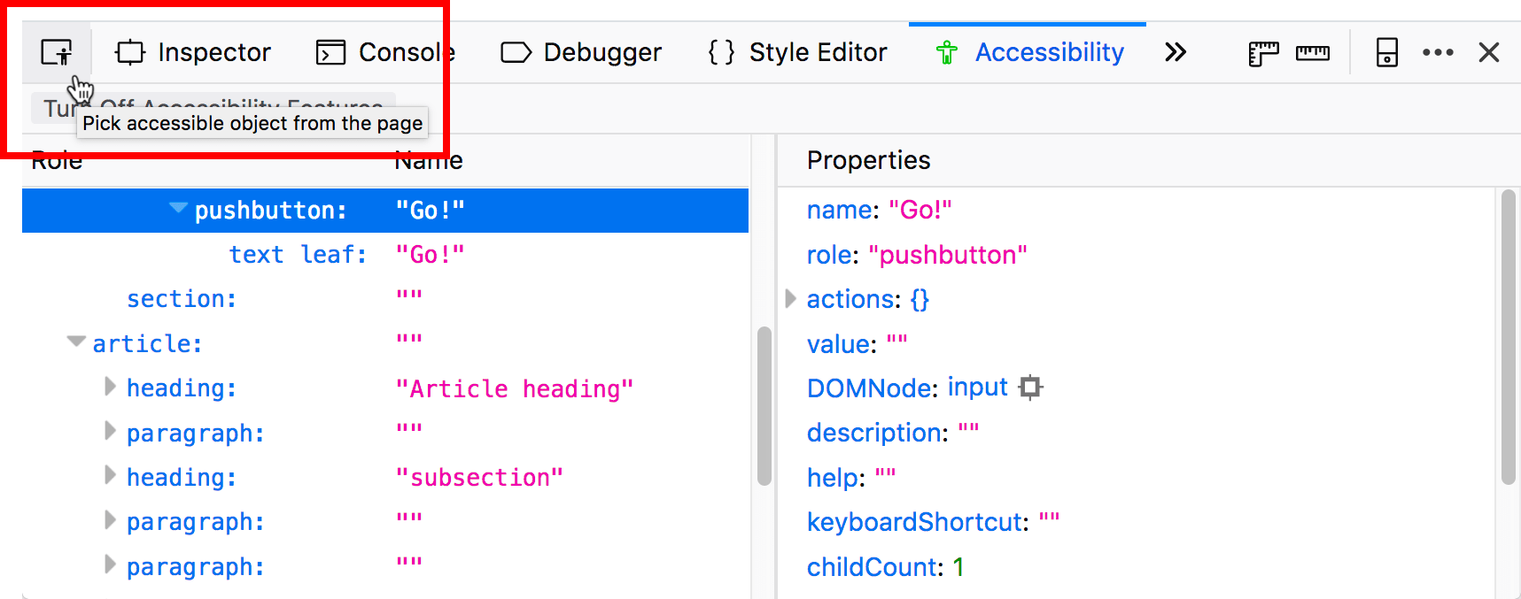 highlighted accessibility inspector button, with a tooltip saying Pick accessible object from the page