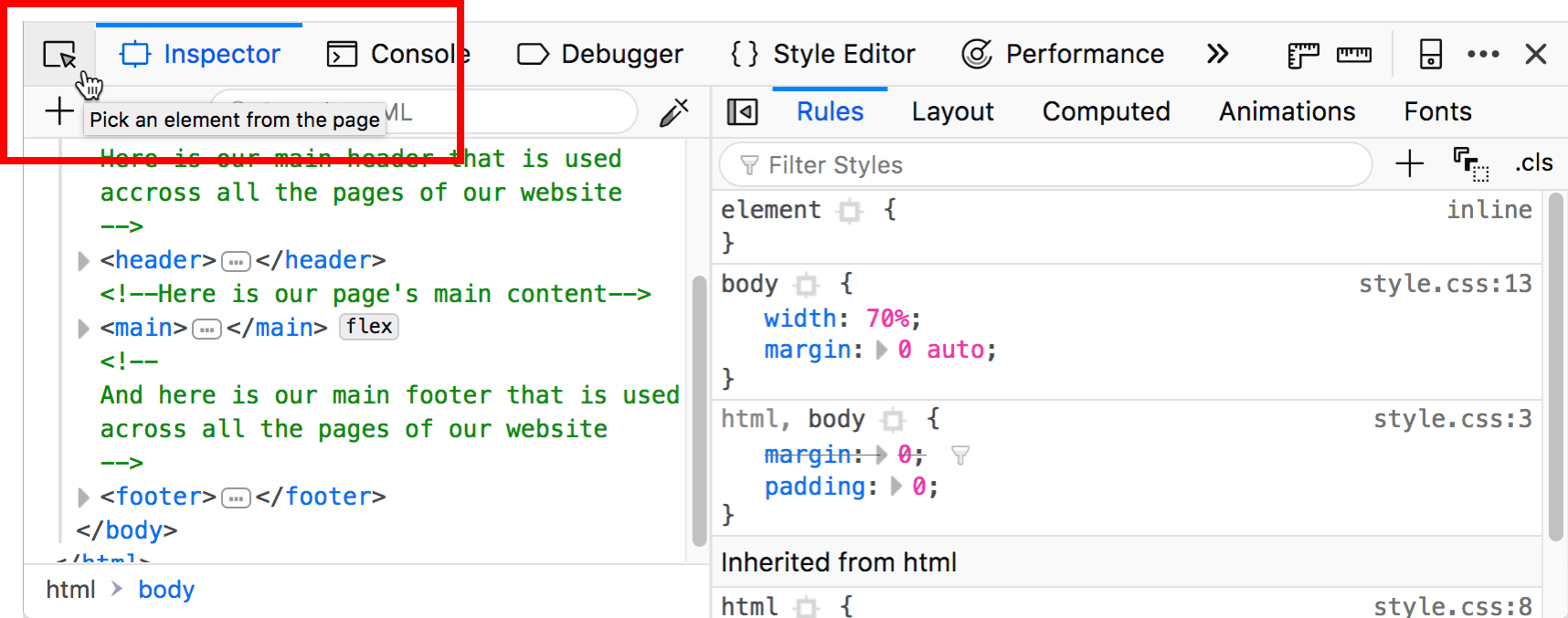 highlighted dom inspector picker button, with a tooltip saying Pick an element from the page