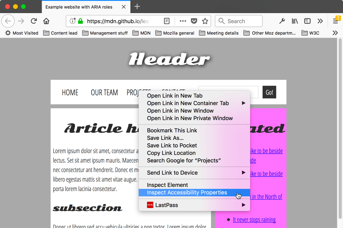 context menu in the browser viewport, with a highlighted option: Inspect Accessibility Properties