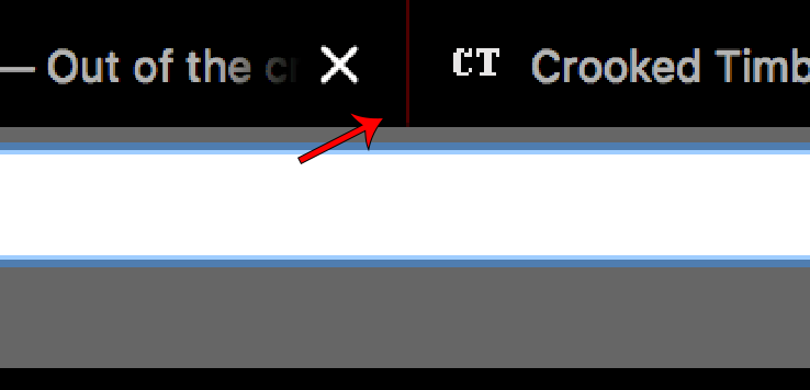 A closeup of browser tabs to highlight the separator.