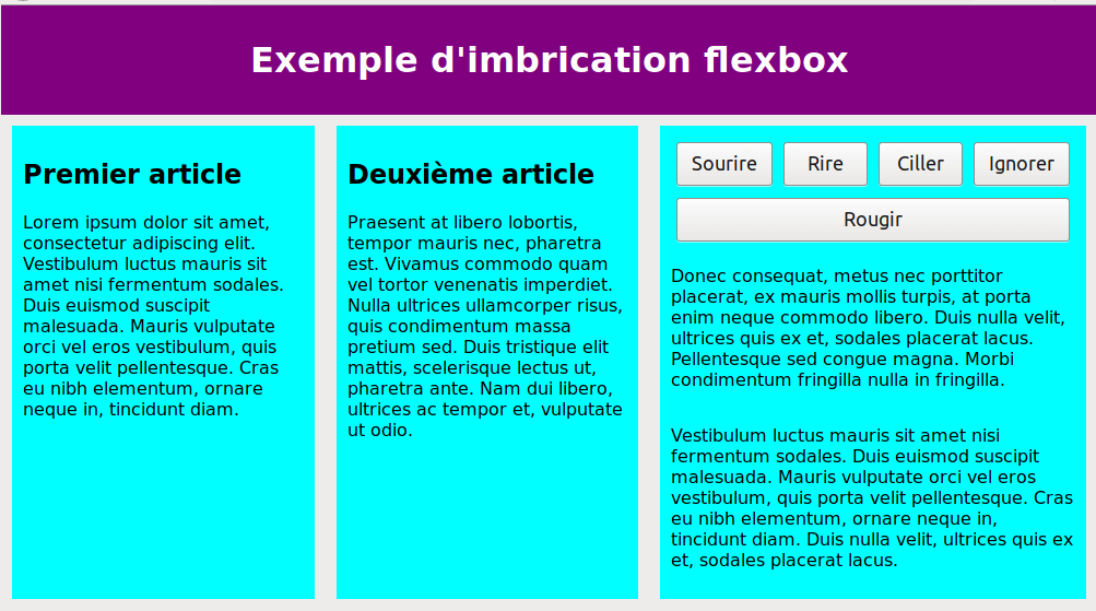 Imbrications avec flexbox