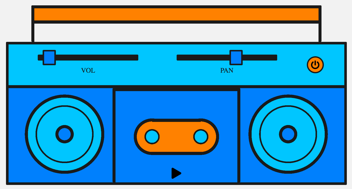 A boombox with play, pan, and volume controls