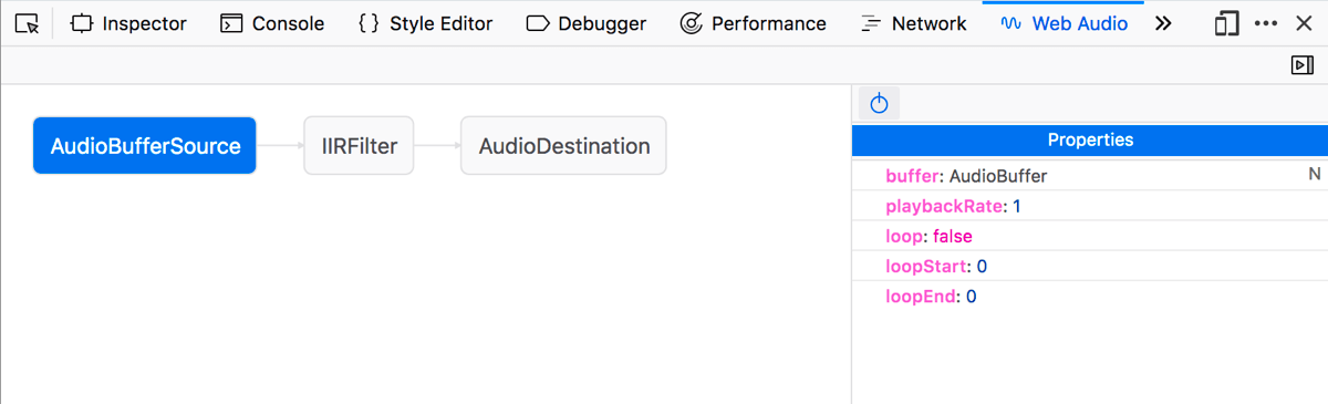 The Firefox web audio editor showing an audio graph with AudioBufferSource, IIRFilter, and AudioDestination