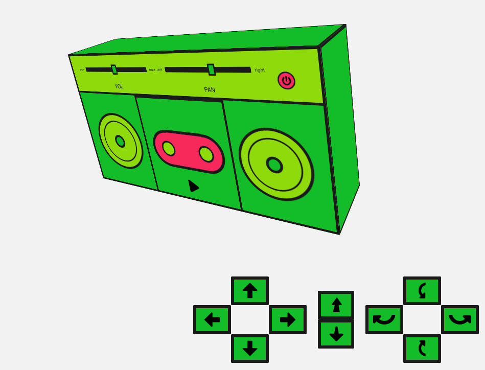 A simple UI with a rotated boombox and controls to move it left and right and in and out, and rotate it.