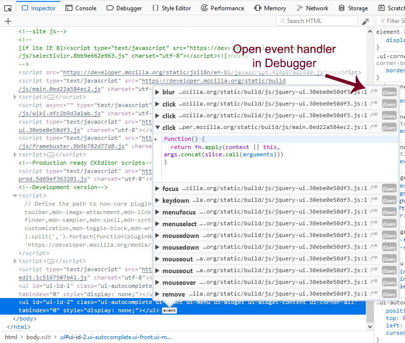 Examine Event Listeners - Firefox Developer Tools | MDN