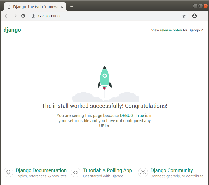 The home page of the skeleton Django app.