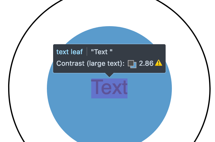 A screenshot of colour contrast highlighter where text contrast if below the AA WCAG threshold.