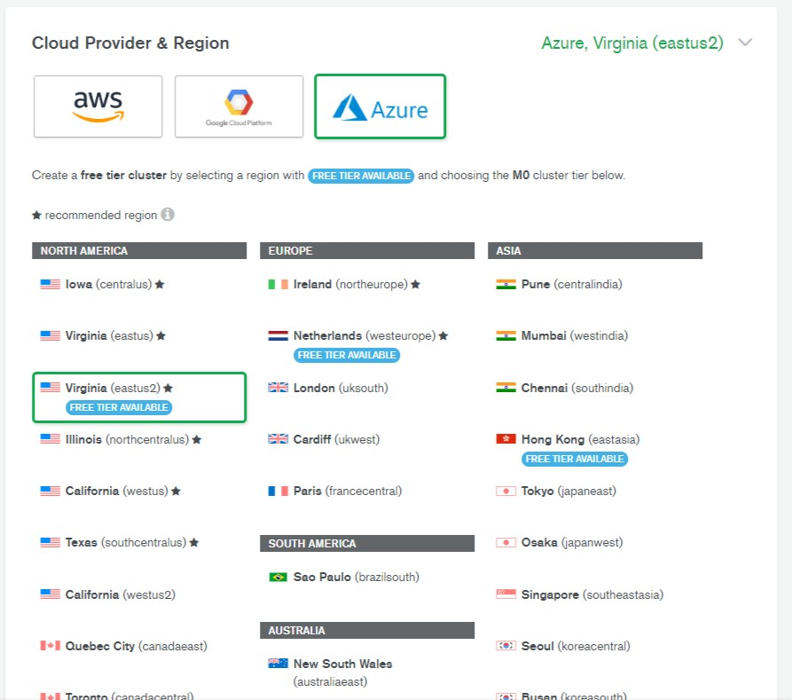 Choose a cloud provider when using MongoDB Atlas.
