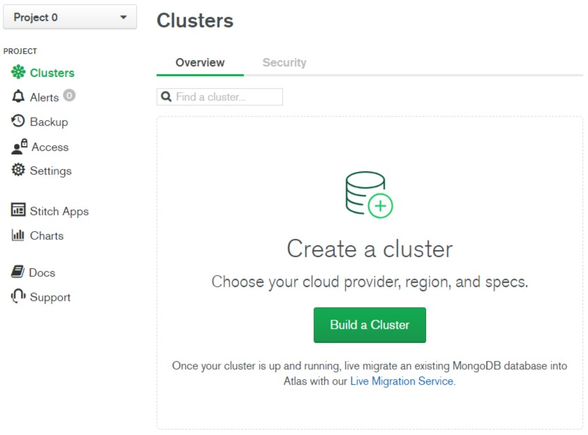 Create a cluster on MongoDB Atlas.