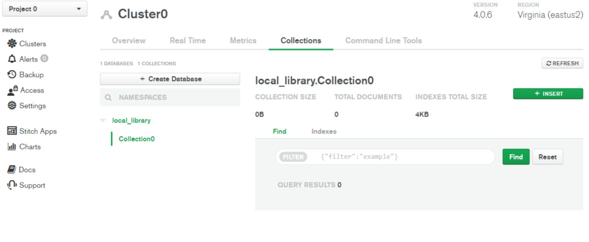 Database creation confirmation on MongoDB Atlas.