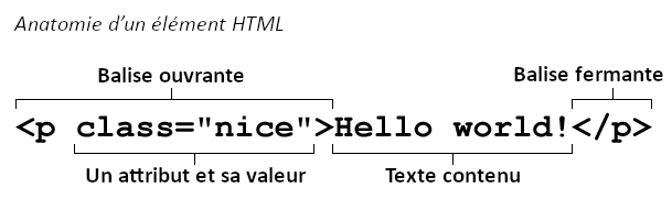 Detail of the structure of an HTML element