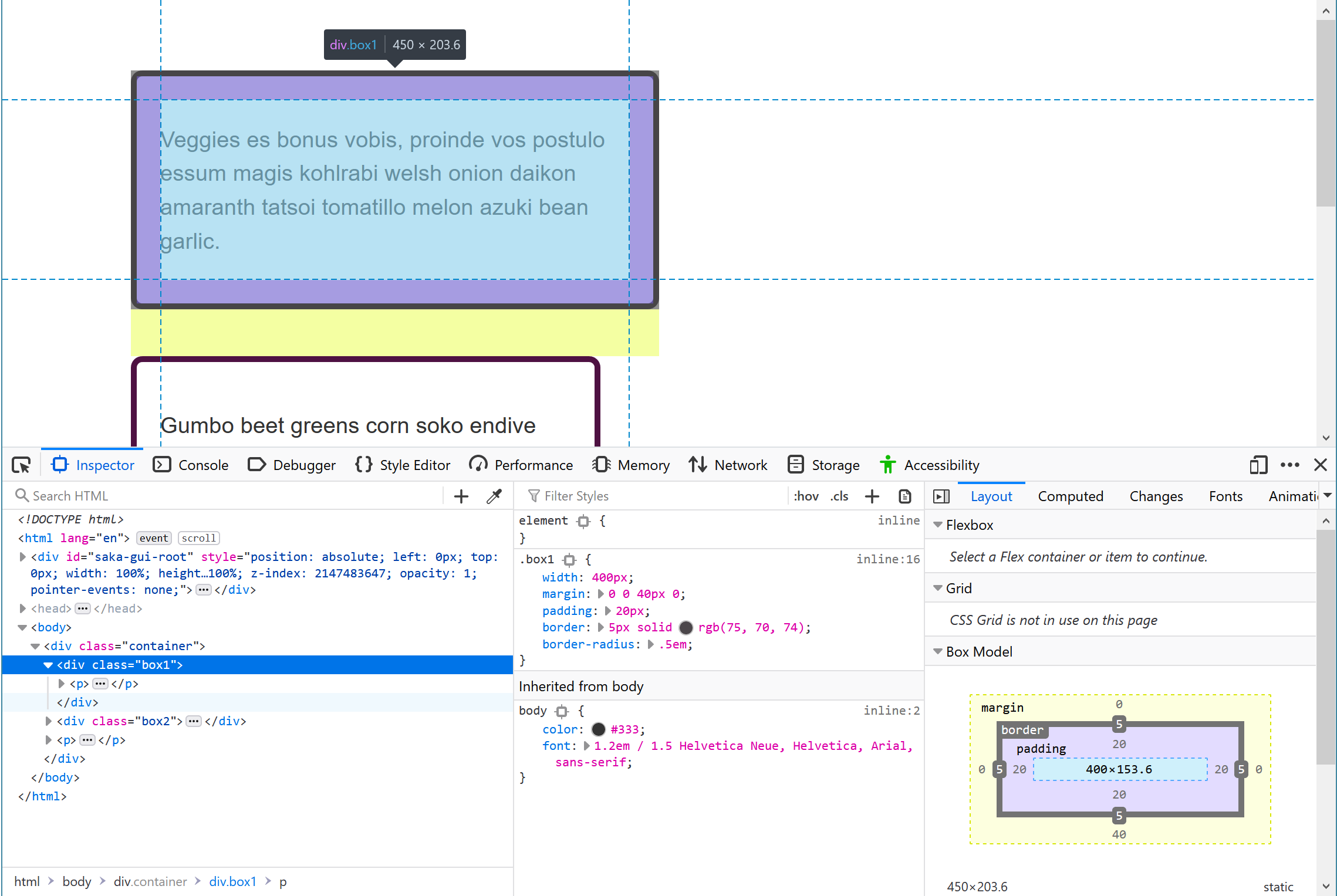 The example page for this tutorial with DevTools open.