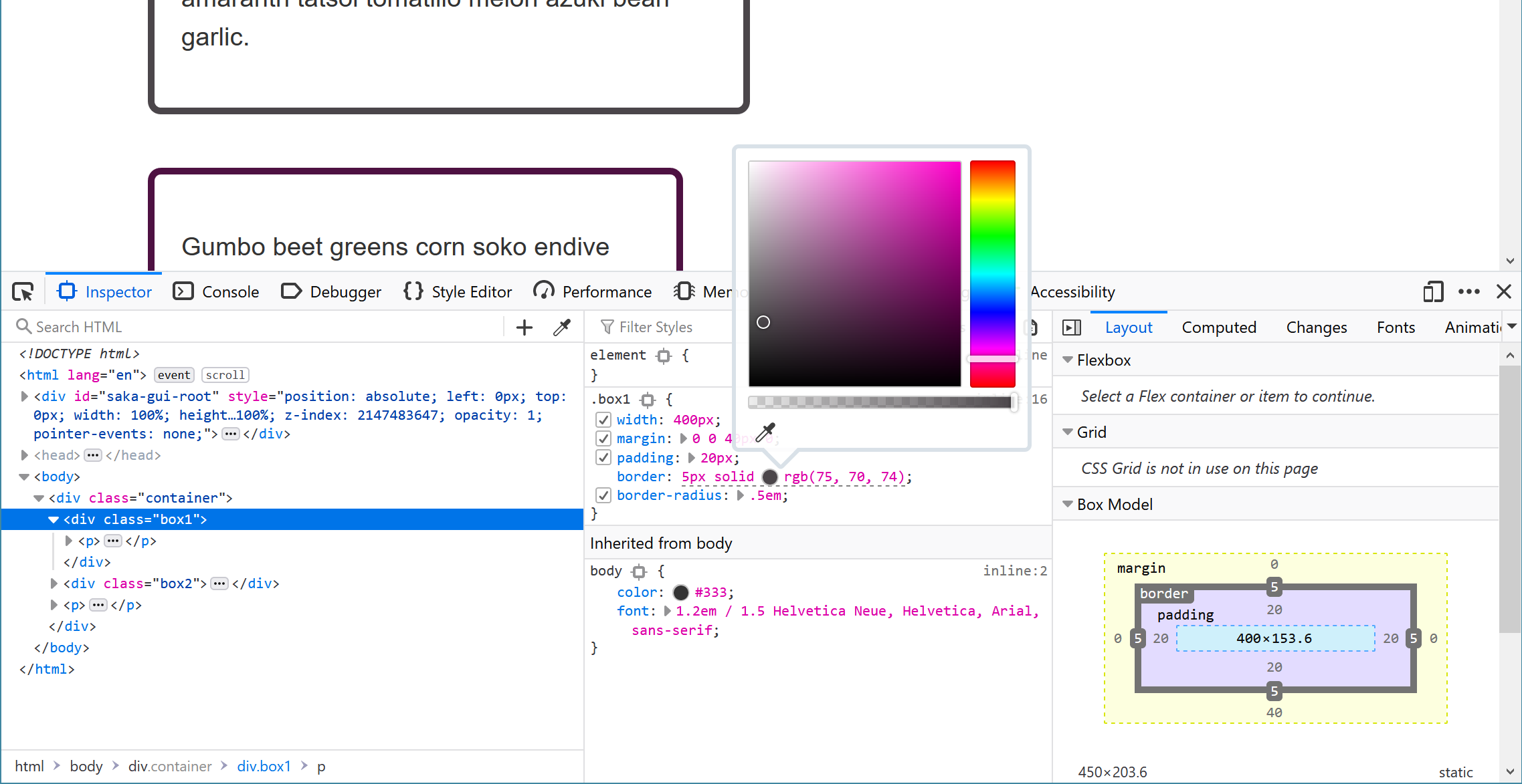 DevTools Styles Panel with a color picker open.