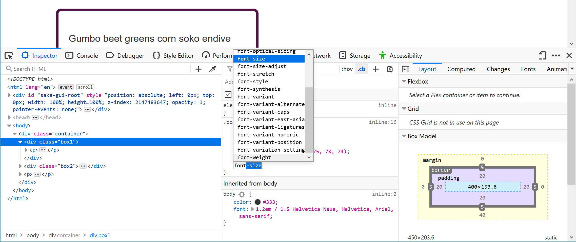 The DevTools Panel, adding a new property to the rules, with the autocomplete for font- open