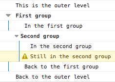 Demo of nested groups in Firefox console