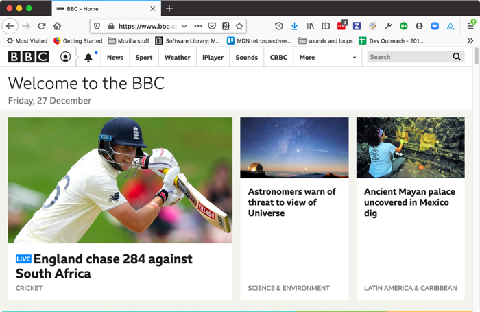 frontpage of bbc.co.uk, showing many news items, and navigation menu functionality
