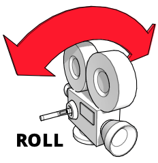 A diagram showing a camera rolling left and right