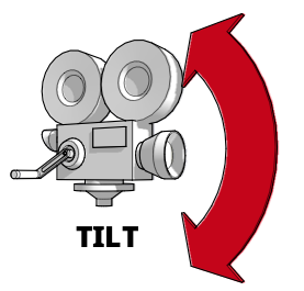 A diagram showing a camera tilting up and down