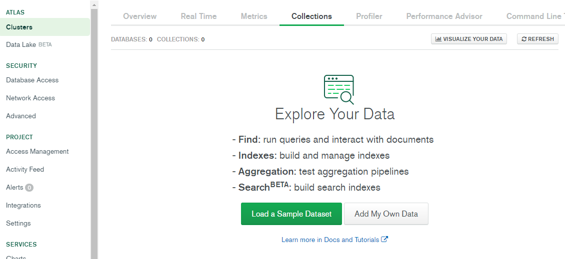 Create a database on MongoDB Atlas.