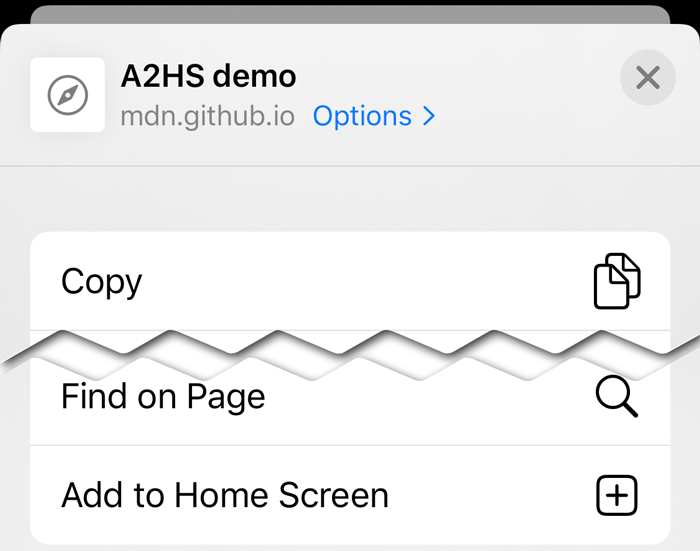 "Screenshot of Safari iOS's sharing panel, showing the ""Add to Home Screen"" option"