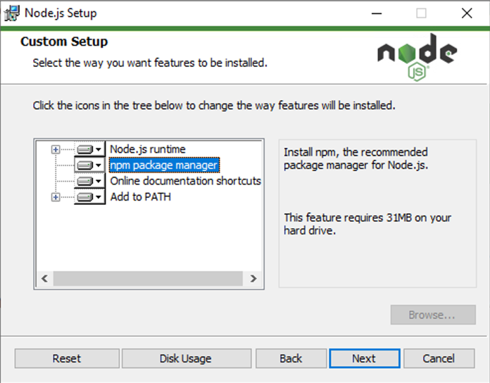 the node.js installer on windows, showing the option to include npm