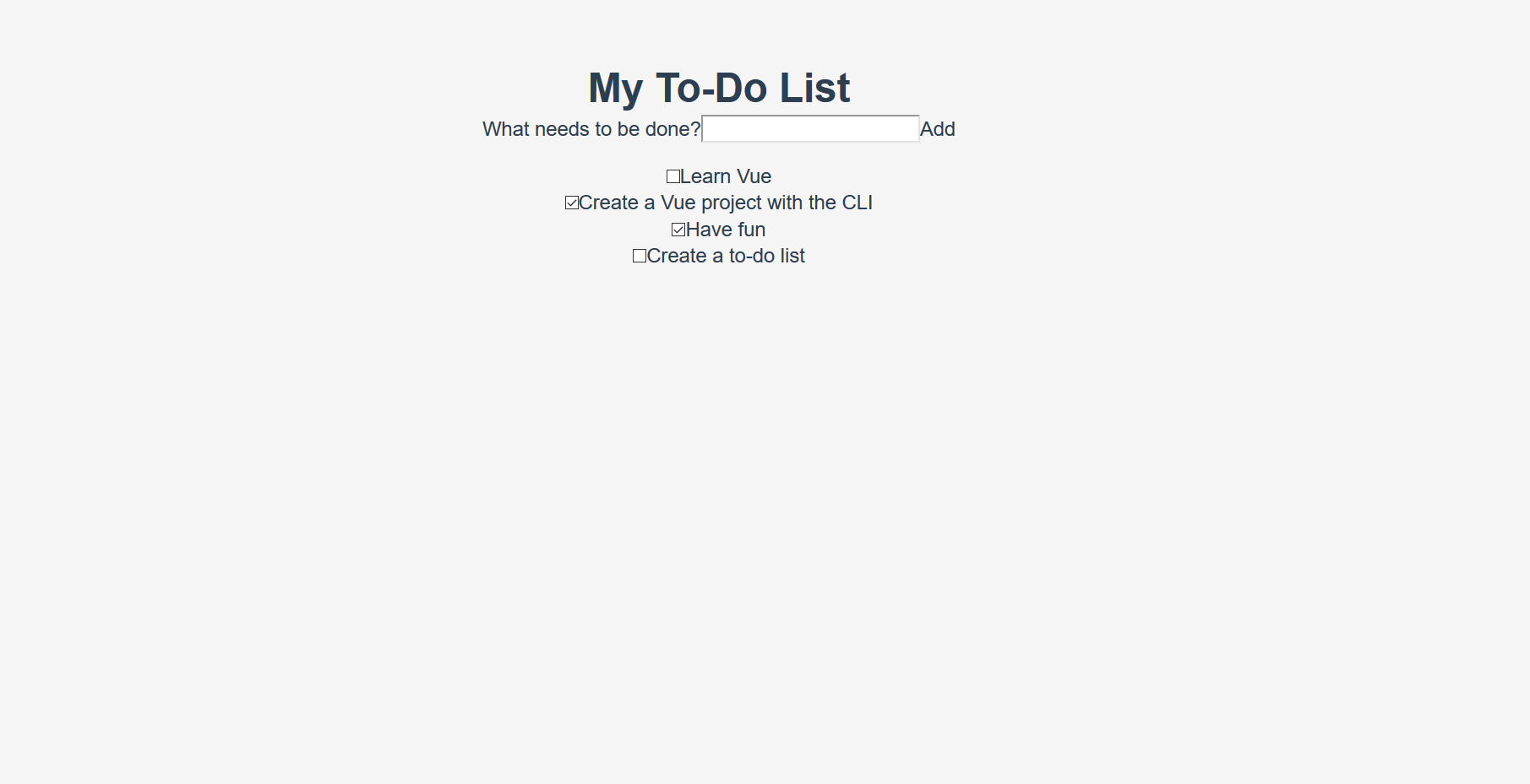 the todo app with partial styling added; the app is now in a card, but some of the internal features still need styling