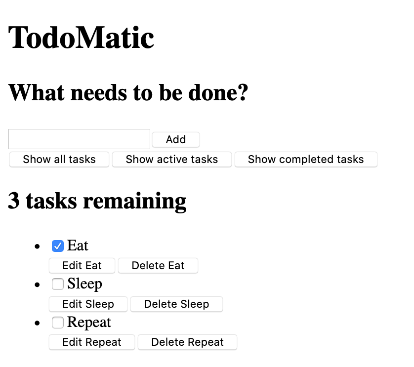 todo-matic app, unstyled, showing a jumbled mess of labels, inputs, and buttons