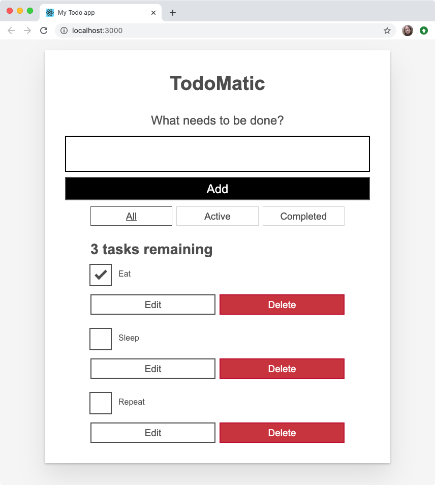 Our todo list app, now with differing checked states - some checkboxes are checked, others not